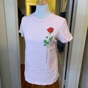 F21 Baby Pink Red Rose Graphic Tee Shirt